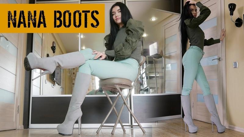 Nana's 1969 Italia Boutigue platform stilettos heels grey leather high boots Size EU38 US6 5