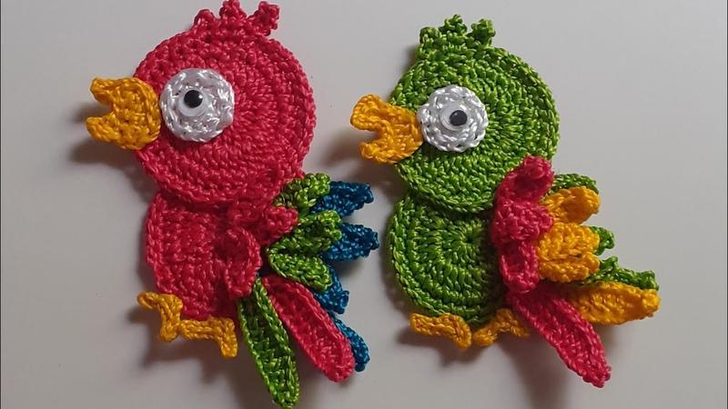 Papagaio de crochê ímã de geladeira ou para aplicação🦜😍