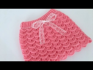 Tığ işi Karnabahar Model Bebek Etek Nasıl Yapılır/Baby skirt/1-2 yaş