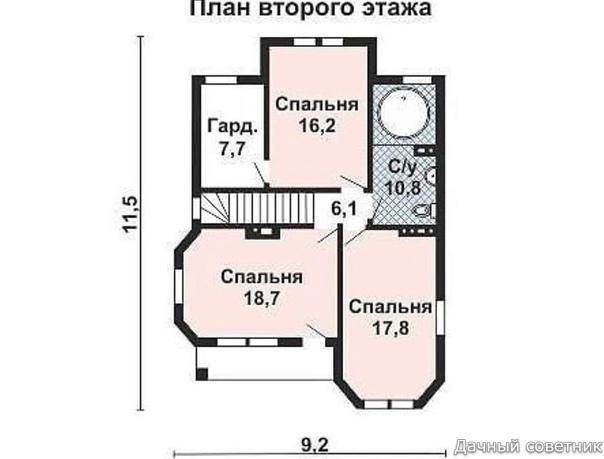 Проект с планировкой двухэтажного дома из бруса - площадь дома: 155,5 кв.м.
