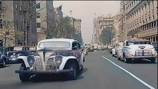 New York 1940s in Color!, Driving Downtown [60fps,Remastered] added sound!