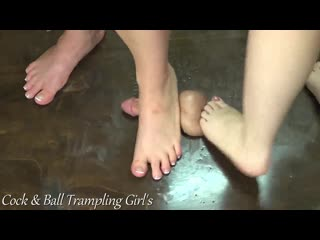2 girls cock crush / foot fetish