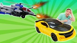 На Автобота Бамблби напали Десептиконы! - Роботы Трансформеры игры битвы. Новые видео для мальчиков