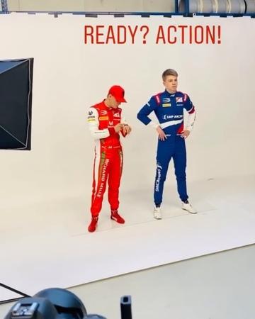 """Mick Schumacher 9 on Instagram @mickschumacher during a photoshoot for Prema Team MickSchumacher Schumacher QuickMick TeamMS Formula2 Formula1 seb5 Race F2…"""""""