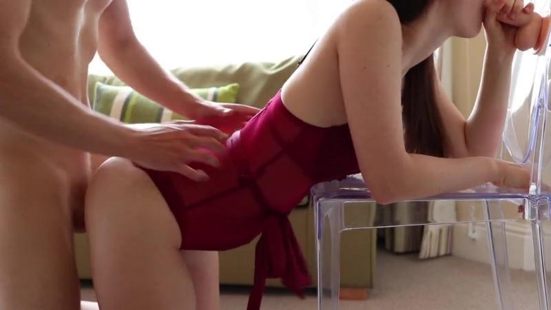 Girl in lingerie fulfils spit roast fantasy with boyfriend ( Porno, sex, new, hd, Порно, big, tits, cum,