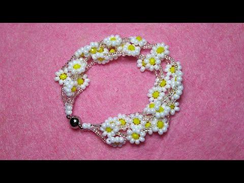 Kristal ve preciosa boncuktan Papatya bileklik Браслет Ромашка Chamomile beaded bracelet