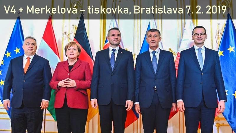 Tiskovka V4 Merkelové v Bratislavě 7 2 2019