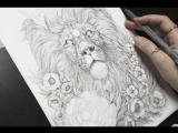 Lion pointillism by Nadiya Vasilkova