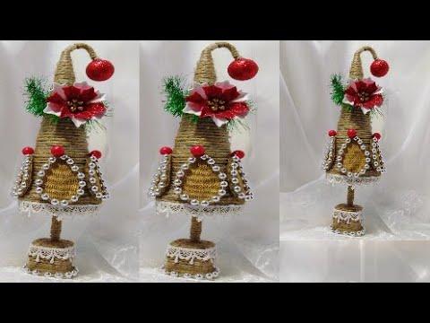 DIY Новогодняя поделка Ёлочка из джута своими руками Подарки Украшения на Новый год 2020