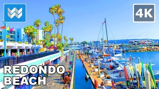 Walking tour of Redondo Beach Pier in South Bay Los Angeles, California USA 2020 Travel Guide【4K】