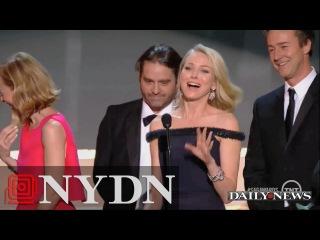 Naomi Watts Trips Over Emma Stone's Dress at SAGs