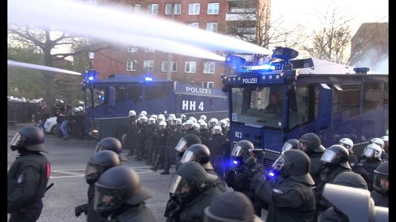 1. Mai 2016 Schwere Krawalle mit Wasserwerfereinsatz Demo Hamburg