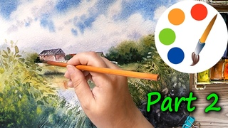 Watercolor, Painting a summer landscape with houses and a lake, how to paint houses, part 2