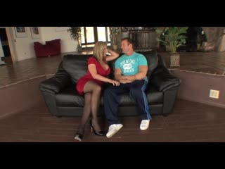 Milf Hunter Amazing Sara Jay in stockings and mini dress high heels for seducing young boy to get her fucked up