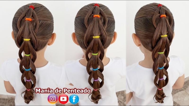 Penteado Infantil com Trança Embutida Arco Íris🌈 Rainbow Rubber Band with Braid for Girls🌈