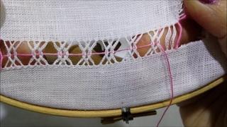 Sfilatura con quattro colonnine incrociate - Tutorial ricamo a mano hand Embroidery Deshilado