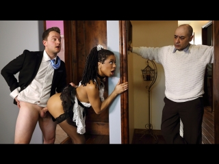 Kira noir up and cummer (black hair, blowjob, ebony, high heels, leggings, natural tits, outie pussy, sneaky, uniform)