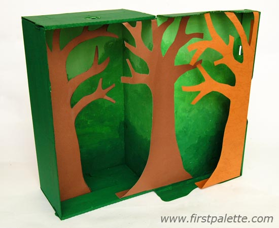 ДИОРАМА «ДЖУНГЛИ» Узнать многое про тропические леса и обитающих в них животных можно в веселой форме, сделав диораму из обычной обувной коробки. Итак, потребуется:Коробка из-под обуви с