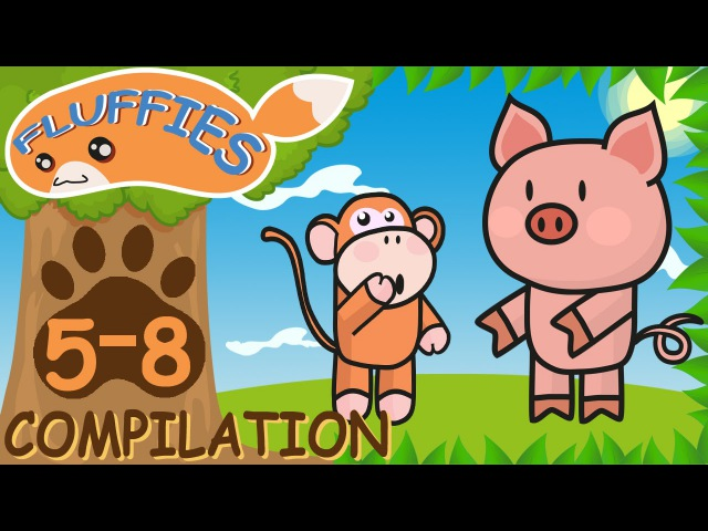 Cartoons for children. Pig, Cat, Lemur and Doctor Elephant. Funny Animals. Season 1. Episodes 5-8