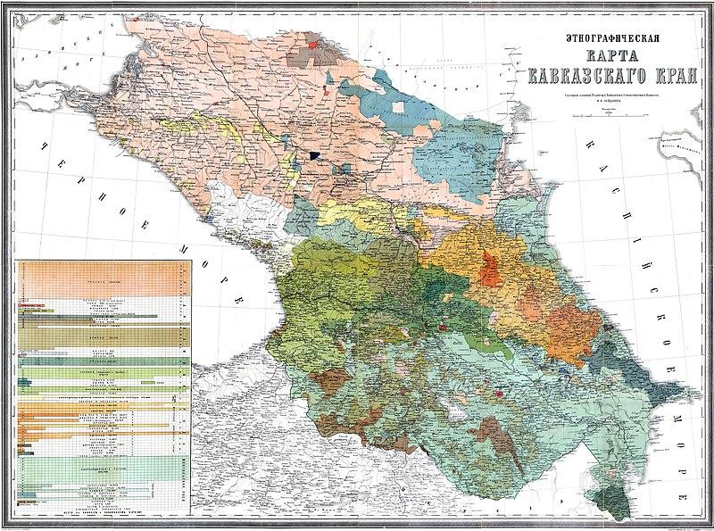 Этнографическая карта Кавказского края (1880 г.).