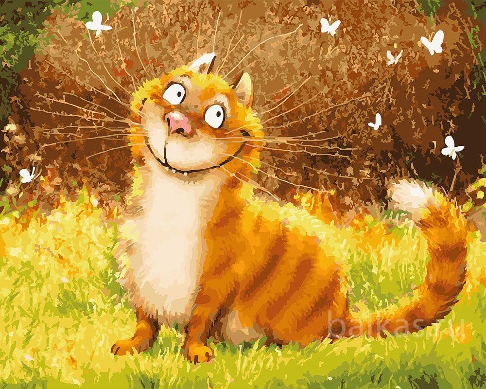 Цветная картинка. Рыжий кот в полоску, сидит в зелёной траве, а вокруг него летают белые бабочки.