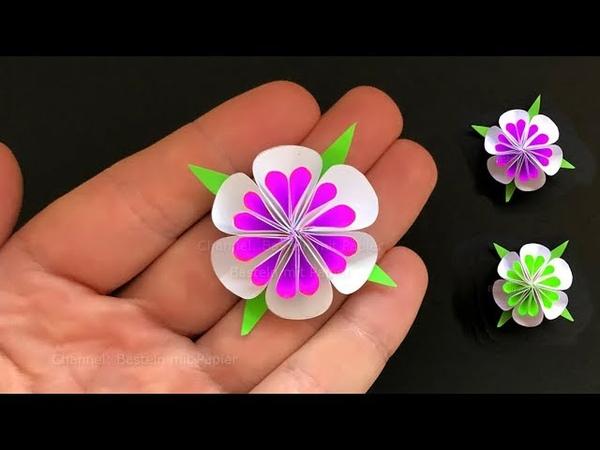 Kleine Blumen basteln mit Papier 🌸 Deko selber machen Bastelideen