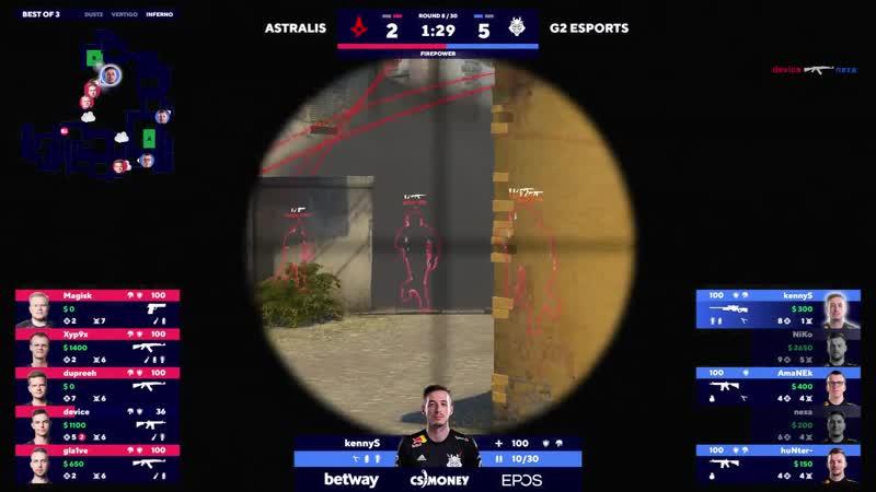 KennyS 3 AWP kills on the bombsite B defense Astralis vs G2