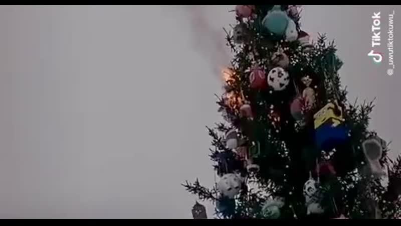 Южноуралец салютом поджег главную новогоднюю елку нагородской площади