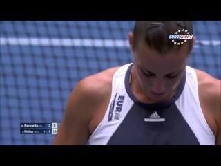 Flavia Pennetta VS Simona Halep - Pennetta INCREDIBLE POINT!!! - US OPEN 2015