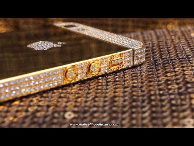 IPhone 5 Customized with 24ct Gold and Swarovski Crystals