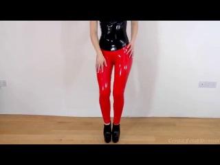 Sexy Latex Liquid Leggings Red Slinky Dance Fetish (colour enhanced)