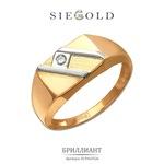 Печатка с бриллиантом из бело-красного золота 585 пробы
