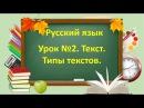 Русский язык. Начальная школа. Урок №2. Тема: Текст. Типы текстов