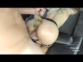 Girl with fox tail anal plug made him cum hard