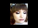 Ксения Саватеева. Неоновый макияж со стразами и легкие локоны на фотосессию для Ани