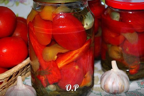 Помидоры с перцем на зиму рецепты с фото пошагово
