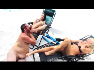 Brattyfootgirls humilating the pool bitch trampling foot worship smelling fetish feet smother domination trample slave licking