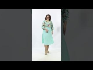 Чудесное платье П4-3638/1 полуприлегающего силуэта из текстильного полотна мятного цвета