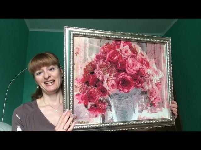 Алмазная вышивка Букет роз - готовая работа и оформление.