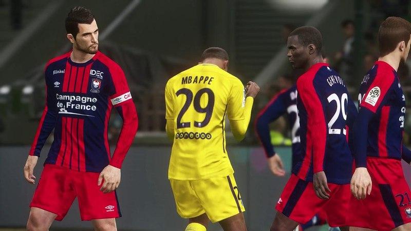Caen vs PSG Full Match Goals 2018 PES 2018 Gameplay PC