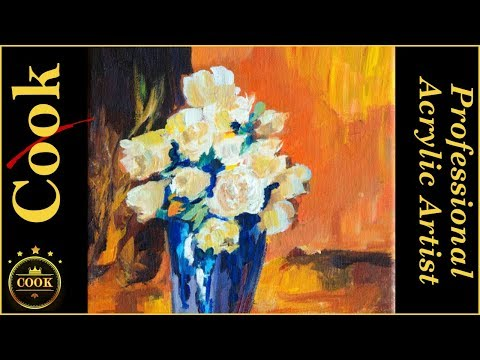 Simple Acrylic Abstract White Roses in a Blue Vase with Ginger Cook