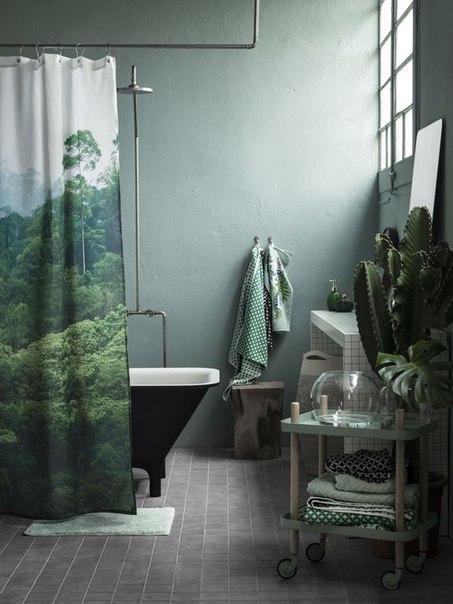 Необычная шторка для ванны, как яркая деталь в...