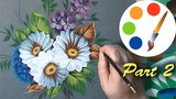 Painting daisies by flat brushes, paint wildflowers, tutorial, part 2