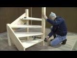 Сборка и монтаж деревянной лестницы ЛЕС 07 поворот 90 градусов
