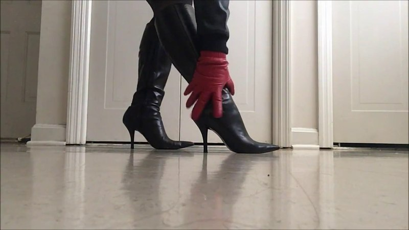 .::ASMR::. A pair of leather gloves massage knee high leather boots
