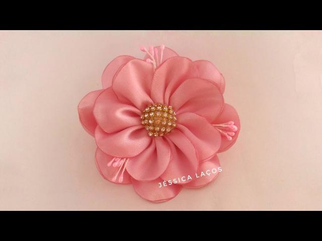 DIY PAP Flor de cetim facil/satin flower/Easy satin flower