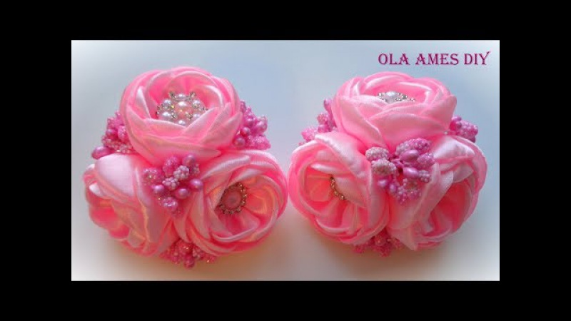 Цветы из лент/ Kanzashi flower tutorial/ Wedding hair accessoire/ Ola ameS DIY