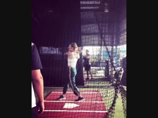 Not too bad for the first time hitting baseball what you guys think ball was coming i think a bit over 60-65mph i'm so com