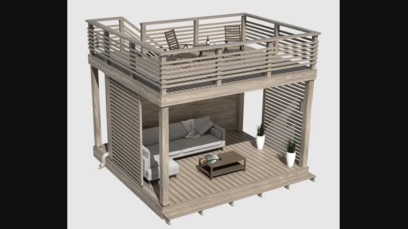 Идея по строительству деревянной беседки со ступенчатой лестницей и террасой на крышей