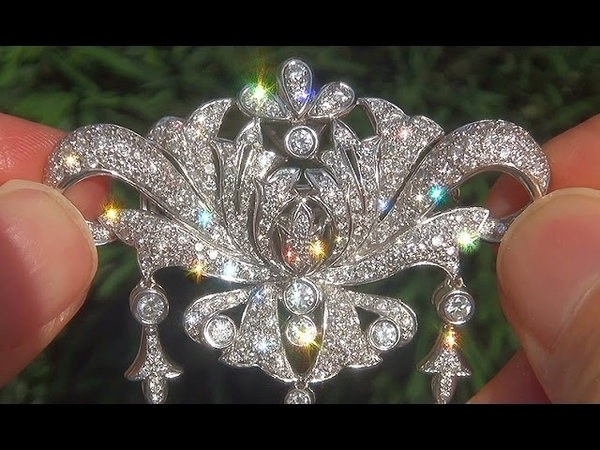 Estate Natural VVS2/F Fancy Diamond Pendant Pin Combo Necklace 18k White Gold - C373